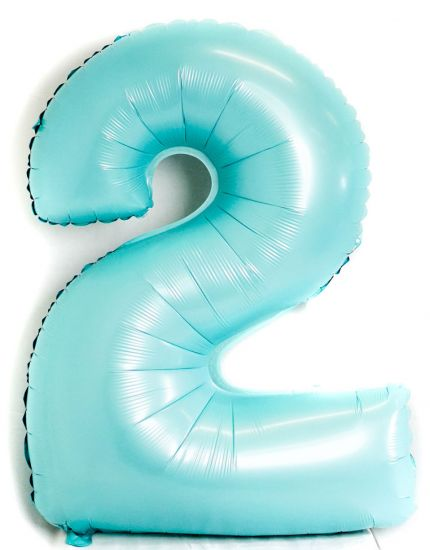 Light Blue Number 2 Two Large Foil Balloon