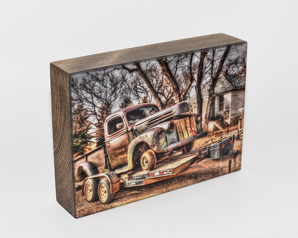 Rusty, Vintage Ford Truck, 5x7 Photo Block