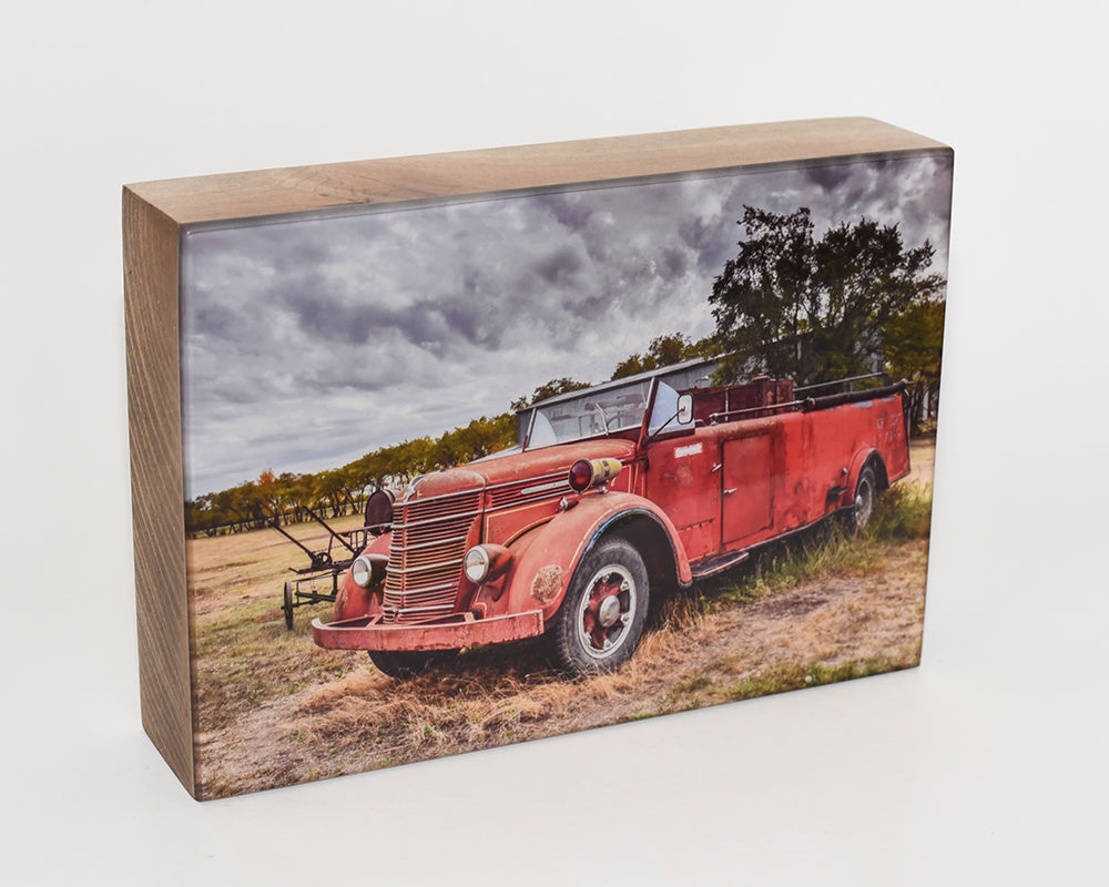 1930's International Fire Truck 5x7 Photo Block