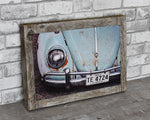 Teal Volkswagen Beetle Barn Wood Frame