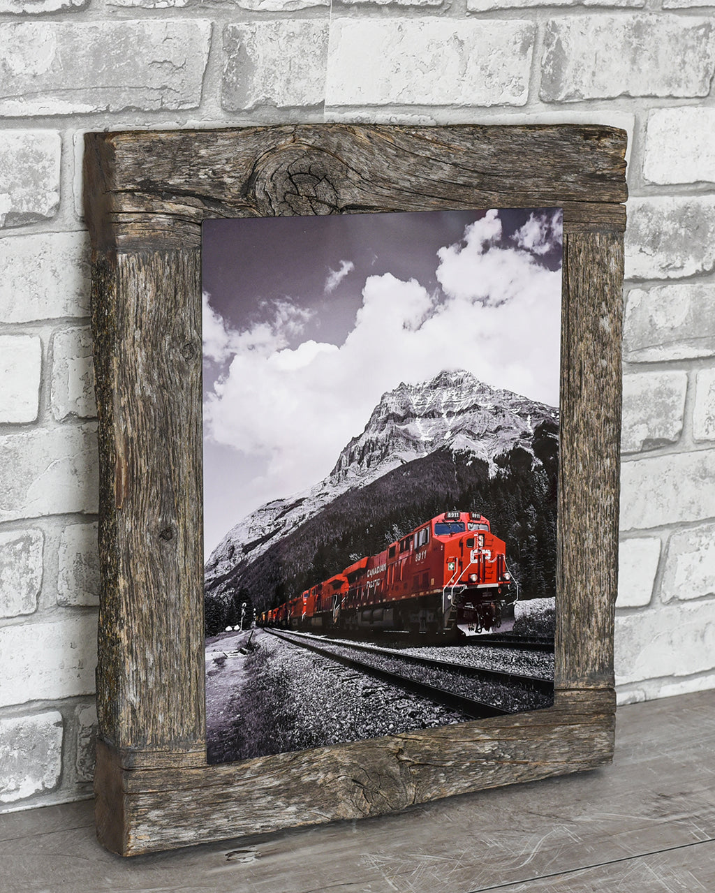 CP Rail Train In Field BC Barn Wood Frame