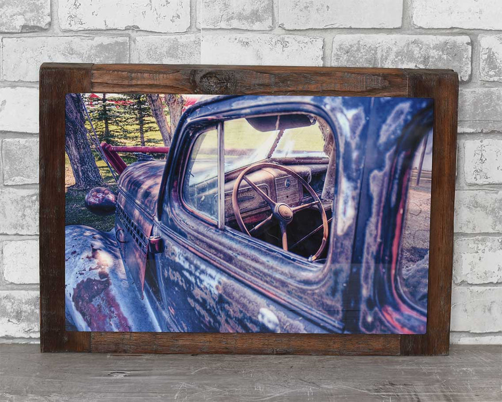 1930's Chevrolet Car, 12x18 Barn Wood Frame