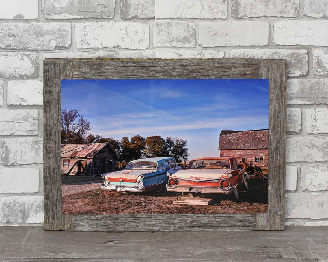 1959 Ford Fairlanes, 12x18 Barn Wood Frame