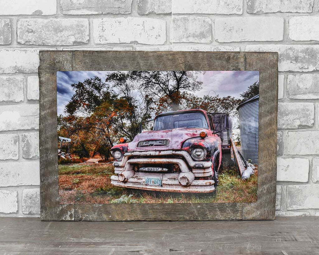 GMC Farm Truck, 12x18 Barn Wood Frame