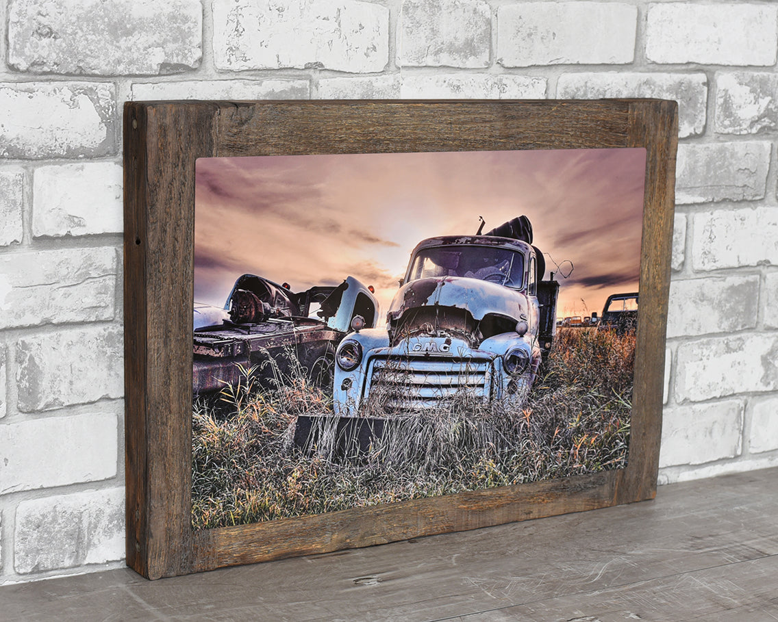 1940's GMC Truck, 12x18 Barn Wood Frame