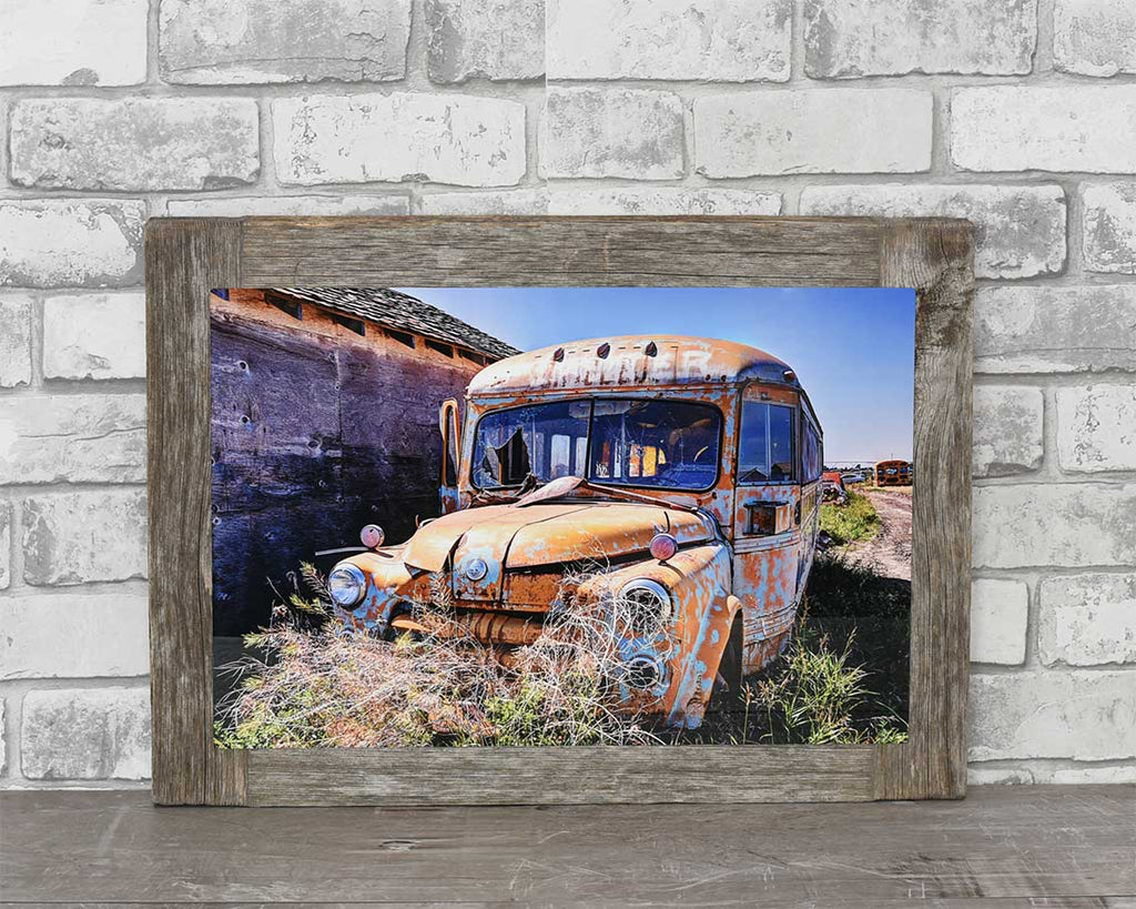 Fargo School Bus, 12x18 Barn Wood Frame