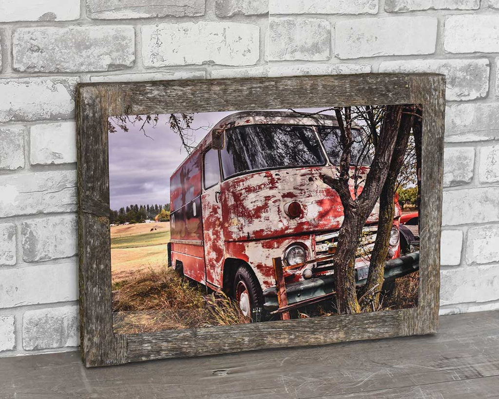 Vintage Milk Van, 12x18 Barn Wood Frame