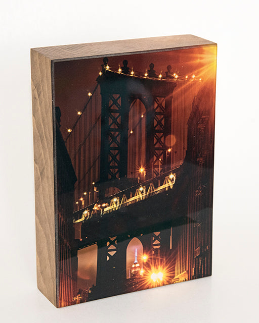Manhattan Bridge In The Evening NYC 5x7 Photo Block