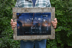 """Calgary Decal"" 12x18 Barn Wood Frame"
