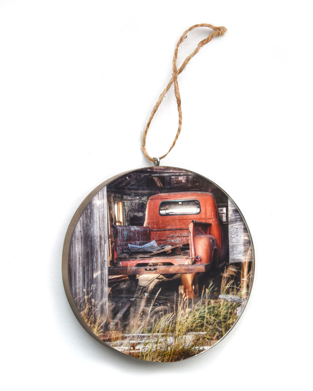 Red Truck In A Barn Christmas Ornament