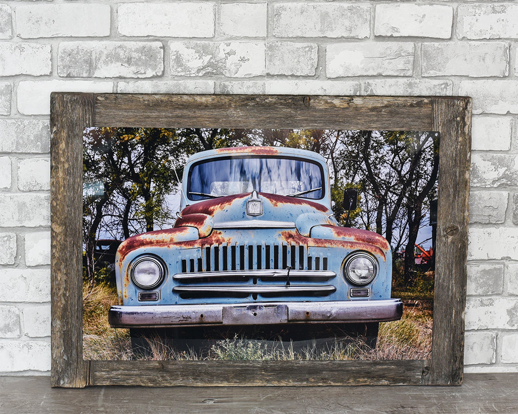 Blue International Truck Barn Wood Frame