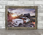 Classic White Chevrolet Car Barn Wood Frame
