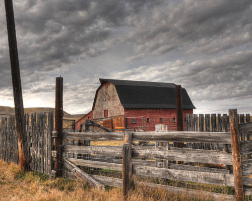 Red Barn In The Prairies