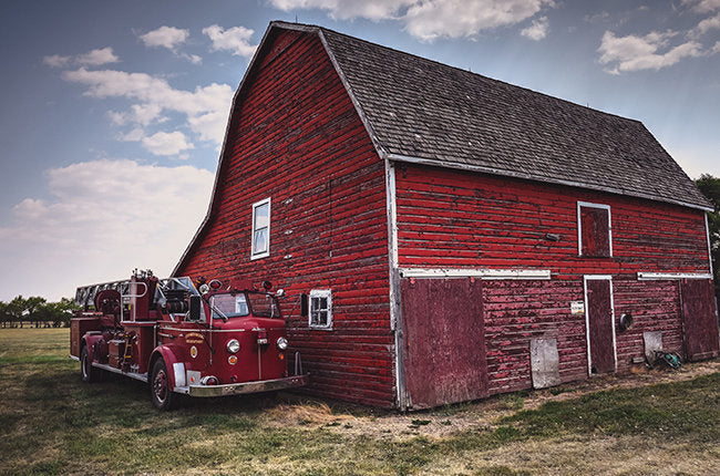 Vintage Fire Truck And Barn