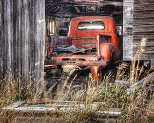 Old Red Truck In A Barn -  8x10, 8x12