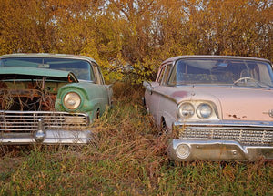 Vintage Pink And Green Ford Cars
