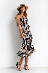Liana One-shoulder Floral Print Midi Dress-Ellie Code