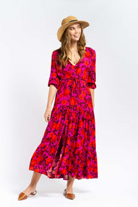 Angelica Floral Print Maxi Dress-Ellie Code