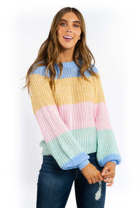 Anya Striped Loose Knitted Jumper-Ellie Code