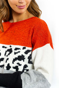 Brielle Leopard Knitted Jumper-Ellie Code