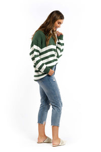 Millie Striped Knit Jumper - KHAKI-Ellie Code