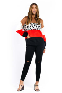 Brielle Leopard Knitted Jumper - BROWN-Ellie Code