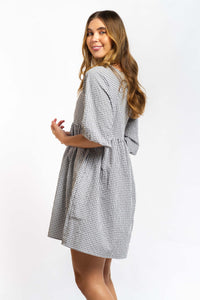 Leia Gingham Cotton Dress - BLACK-Ellie Code