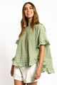 Cali Gingham Top - GREEN