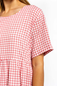 Lucia Gingham Maxi Dress - PINK GINGHAM