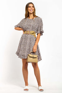 Cali Linen-blend Dress - LEOPARD-Ellie Code