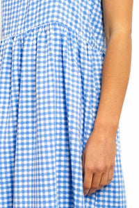 Sofiya Gingham Maxi Dress - BLUE-Ellie Code