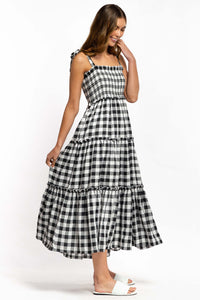 Aila Gingham Maxi Dress - BLACK-Ellie Code