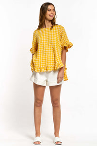 Cali Linen Top - YELLOW GINGHAM-Ellie Code