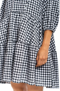 Joelle Gingham Dress - BLACK-Ellie Code
