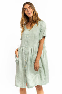 Charlie Linen Dress - SAGE-Ellie Code