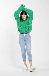 Cable-knit-pom-pom-sweater-green