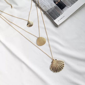 Multi-layered-necklace-shell-pendants