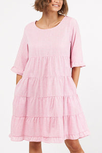 Heidi Linen-blend Dress - PINK-Ellie Code