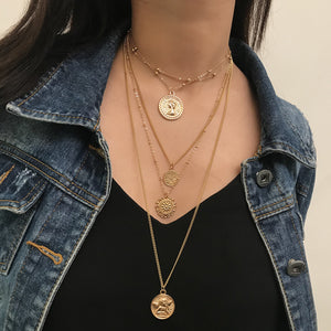 Alina Gold Multi Layer Coin Necklace-Ellie Code-Ellie Code