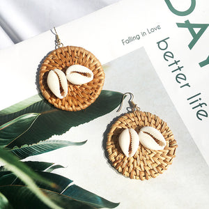 Raffia Circle Drop Earrings-Ellie Code-Ellie Code