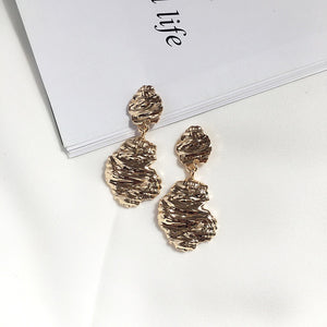 Gold Textured Drop Earrings-Ellie Code-Ellie Code
