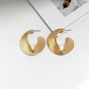 Gold Textured Circle Earrings-Ellie Code-Ellie Code