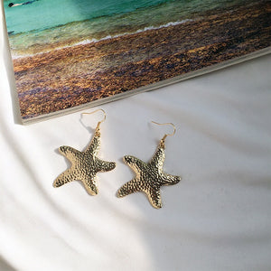 Gold Textured Starfish Earrings-Ellie Code-Ellie Code