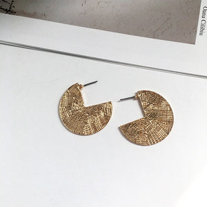 Gold Textured Flat Hoop Earrings-Ellie Code-Ellie Code