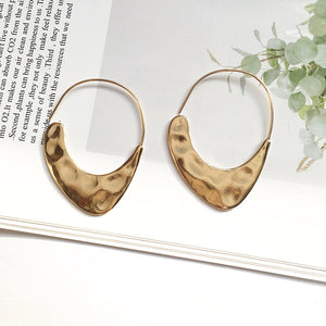 Textured Gold Hoop Statement Earrings-Ellie Code-Ellie Code