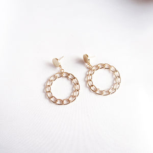 Gold Textured Chain Hoop Earrings