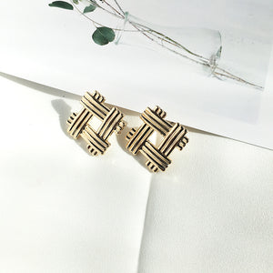 Gold Textured Square Stud Earrings