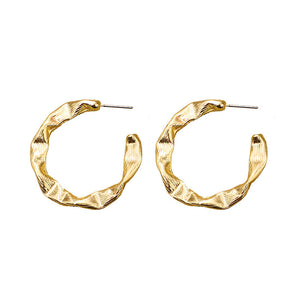 Gold Texture Twist Hoop Earring
