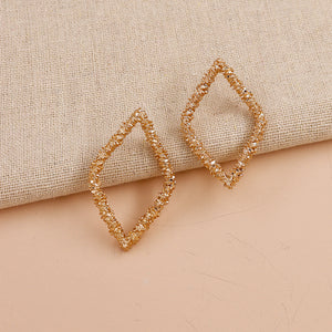 Gold Textured Diamond Hoop Earring
