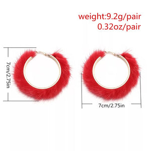 Hoop-design-Animal-fur-earrings
